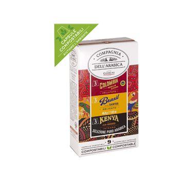 Selección Cafés Puro Arabica Colombia, Kenya & Brasil 9 Capsulas 46.8g COMPAGNIA DELL´ARABICA
