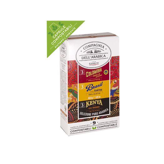Selección Cafés Puro Arabica Colombia, Kenya & Brasil 9 Capsulas 46.8g COMPAGNIA DELL´ARABICA - DAR057NEW
