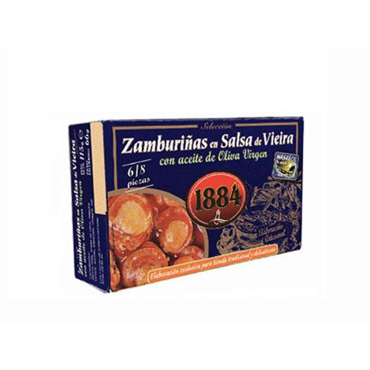 Zamburiñas en Salsa de Vieira con aceite de Oliva Virgen 115g 1884 - PT0573
